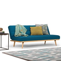 Simpli Home Spencer Contemporary 72 inch Wide Sofa Bed in Mediterranean Blue Linen Look Fabric