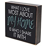 "What I Love Most About My Home Is Who I Share It With wedding anniversary gift for couple, housewarming gift ideas for Mr. and Mrs. shadow box 6""x6"" (Be strong) (What I love most)"