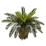 Nearly Natural 6657 Cycas with Hexagon Vase Decorative Silk Plant, Green