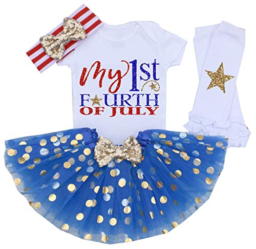 My 1st 4th of July Baby Girl Outfits American Flag Romper Shirt Dots Tutu Dress with Bow Headband Independence Day Set 3-6 Months Blue