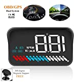 ACECAR Car Universal Dual System HUD Head Up Display OBD II/GPS Interface,Vehicle Speed MPH KM/h,Engine RPM,OverSpeed Warning,Mileage Measurement,Water Temperature,Voltage