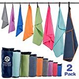 HOEAAS 2 Pack Microfiber Travel & Sports & Beach Towel-S (32'x16'x2)-Lightweight, Compact, Super Absorbent, Fast Dry for Outdoor, Yoga, Camping, Gym+ Buckled Carry Bag(S, Navy Blue)