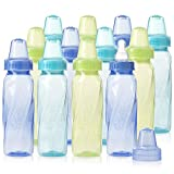 Evenflo Feeding Classic Tinted Plastic Standard Neck Bottles for Baby, Infant and Newborn - Teal/Green/Blue, 8 Ounce (Pack of 12)