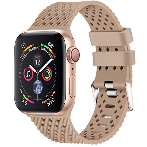 Lwsengme Compatible with Apple Watch Band (S/M M/L),Choose Color,Soft Rubber Replacement Sport Wristbands Compatible with Apple Watch Series 4/3/2/1(38mm/40mm-Color 01-Large)