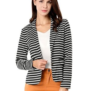 Allegra K Women's Notched Lapel Pocket Button Closure Striped Blazer 13 Fashion Online Shop 🆓 Gifts for her Gifts for him womens full figure