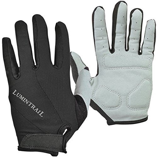 Lumintrail Shock-Absorbing Riding Full Finger Cycling Bike Gloves Breathable Sport for Men and Women (Black, Large)