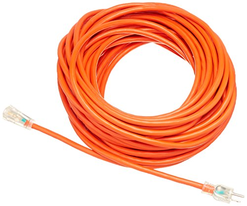 AmazonBasics 12/3 SJTW Heavy-Duty Lighted Extension Cord | Orange, 100-Foot