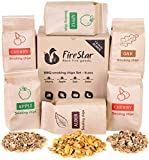 Wood chips for smokers - Oak | Alder | Cherry | Apple smoker chips - Wood chips for smoking and grilling (bbq and grill) - Variety pack 6 pcs + bonus e-book