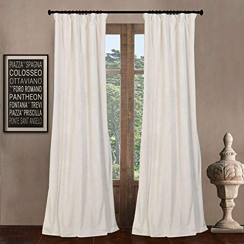 52' W x 84' L (set of 2 Panels) Pinch Pleat 90% Grey Lining Blackout Velvet Solid Curtain Thermal Insulated Patio Door Curtain Panel Drape For Traverse Rod and Track, Off White Curtain