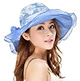 Derby Hat for Women Hindawi Wide Brim Sun Protection Packable Organza Kentucky Church Hat, Blue
