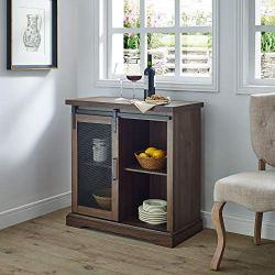 WE Furniture Industrial Farmhouse Buffet Entryway Bar Cabinet Storage, 32 Inch, Walnut Brown