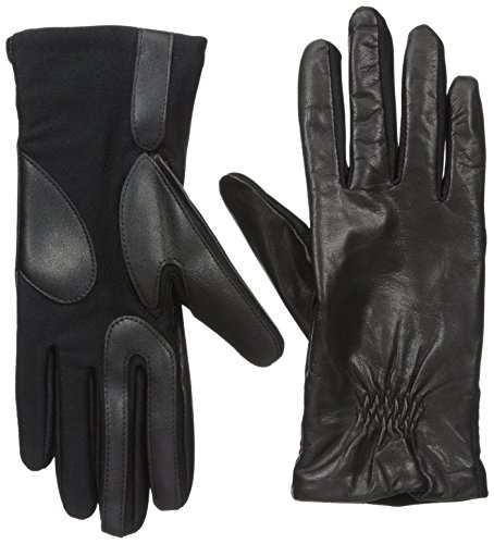 Isotoner Women's Stretch Leather Gloves Fleece Lined with Smart Touch Technology, Black Small/Medium