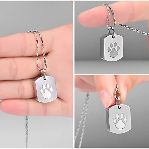 Minicremation Cremation Jewelry Urn Necklace for Ashes for Pet, Paw Print Memorial Ash Jewelry, Keepsake Pendant for Pet's Cat Dog's Ashes with Filling Kit 5