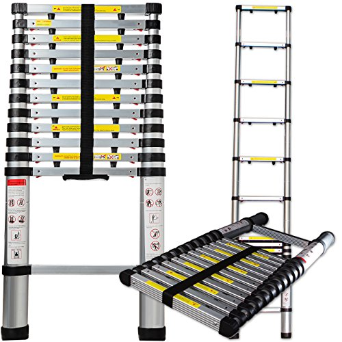 OxGord Aluminum Telescopic Extension Ladder (12.5 Ft Telescope) - EN131 Certified - Extendable Telescoping Extendable with Spring Load Locking Mechanism Non-Slip - 250 lb Max Capacity