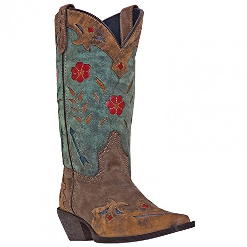 Laredo Womens Brown/Teal All Leather Miss Kate 11in Snip Toe Cowboy Boots 11 M