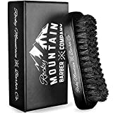 Men's Hair Brush- 100% Pure Black Boar Hair Natural Bristle for Beard, Moustache - Firm Military...