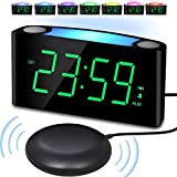 Alarm Clock with Bed Shaker, Large Numbers Digital Display with Dimmer, Night Light, USB Charger, Snooze, Loud Sound&Powerful Vibrating Bedroom Clock for Heavy Sleeper Hearing Impaired Deaf Senior Kid