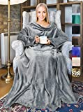 Fleece Wearable Blanket with Sleeves and Front Pocket for Women Men, Super Soft Microplush Adult Comfy Throw with Sleeves for Lounge Couch Reading Watching TV 73' x 51' Grey