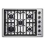 Viking 30' Natural Gas Cooktop, Stainless Steel Simmer Setting Black Chrome Knobs VGSU53015BSS