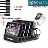 COSOOS Charging Station with Quick Charge QC 3.0,6 USB Charger Cables(3 Types),lwatch Stand,Fastest 6-Port Docking Station,USB Charging Station for Multiple Devices,Phones,Tablet,Kindle(UL Certified)