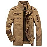 Product review for CRYSULLY Men's Fall Casual Windbreaker Jacket Cargo Stand Collar Military Bomber Jackets Coat