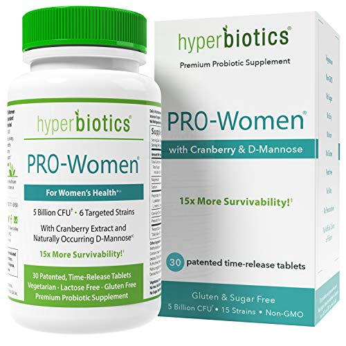 Hyperbiotics PRO-Women Probiotics - 30 Daily Time-Release Tablets with Cranberry Extract and Naturally Occuring D-Mannose - Gluten Dairy Free Supplements and 15x More Survivability Than Capsules