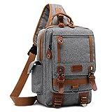 DTBG 13 Inches Messenger Bag Sling Backpack Nylon Shoulder Bag Waterproof Chest Pack OutdoorCross Body Bag for Men & Women (Grey)