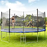 Merax 15FT Trampoline with Enclosure Net, Circular Trampolines Outdoor Parkside for Adults/Kids, Family Jumping and Ladder