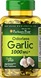 Puritan's Pride Odorless Garlic Capsules 1000 mg, Garlic Supplement for Support of Healthy Cholesterol, 250 Rapid Release Softgels