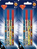 Superman Stick Ballpoint Pens - Writing or School Supplies, Set of 8