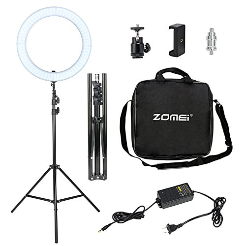 LED Ring Light with Stand, Zomei 18 Inches Selfie Ring Light for Camera Smartphone Youtube Video Shooting and makeup, Dimmable 2700-5500K Studio Lighting with Phone Holder, Hot Shoe and Carrying bag