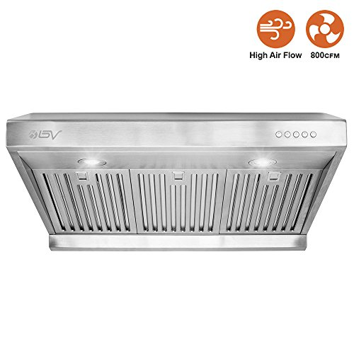 BV Stainless Steel 30' Under Cabinet High Airflow (800 CFM) Ducted Range Hood with LED Lights