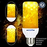LED Flame Effect Light Bulb {} Downward and Upward Fire Flickering Simulation Indoor Outdoor Lightbulb Standard E26 Socket, Cool Interior Exterior, Holiday, Home Décor (1 Pack)