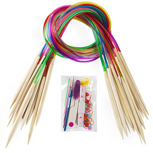 """18 Pairs Bamboo Knitting Needles Set, Vancens Premium Circular Wooden Knitting Needles with Colorful Plastic Tube, 5 Kind of Tools for Weave are Included, 18 Sizes: 2mm - 10mm, 31.5"""" Length"""
