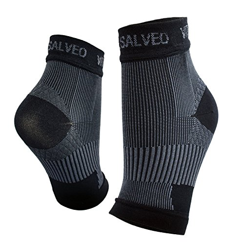 Vital Salveo- Germanium Recovery Plantar Fasciitis Ankle Socks Best Foot Compression Sleeves for Injury Recovery, Joint Pain, Increase Blood Circulation, Reduce Foot Swelling, Arch Pain Relief-L(Pair)