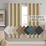 Linen Curtains Thermal Insulated Rustic Curtain Room Darkening Rich Textured Linen Bedroom Curtains for Small Window, Antique Grommet Panel Kitchen Window Curtain, 52 by 63 - Inch-Beige (Set of 1)
