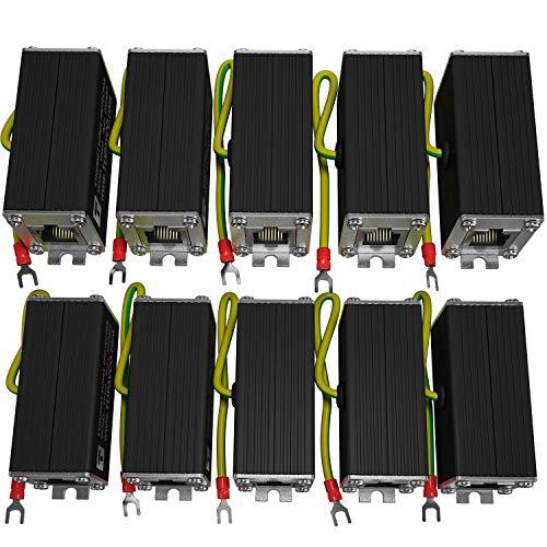 Ethernet Surge Protector (10 Pack) PoE+ Gigabit - Gas Discharge Tube for Full Protection -Mounting Flange- RJ45 Lightning Suppressor- LAN Network CAT5/CAT6 Thunder Arrestor -1000 Mbps- Tupavco TP302