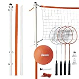 Franklin Sports Volleyball and Badminton Set - Volleyball, Pump, Badminton Rackets, Birdies, Net, and Adjustable Polls - Beach or Backyard Games - Combo Set