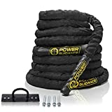 POWER GUIDANCE Battle Rope - 1.5' Width Poly Dacron 30/40/50ft Length Exercise Undulation Ropes - Gym Muscle Toning Metabolic Workout Fitness - Battle Rope Anchor Included (1.5'' 30FT Length)