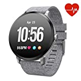 Fitness Tracker Smart Watch, Activity Tracker with Heart Rate Monitor, IP67 Waterproof Smart Fitness Band with Blood Pressure, Step, Calorie Counter, Pedometer Watch for Women and Men (V11-gray)