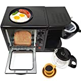 3 in 1 Breakfast Maker Station Hub 500W 5L With( 650W 4 Cup Espresso Coffee Maker, Multi Function 500W/5L Toaster Oven, Non Stick 6' Griddle)Removable Crumb Tray Timer Control Glass Carafe-PFOA Free,ETL Approved-Black