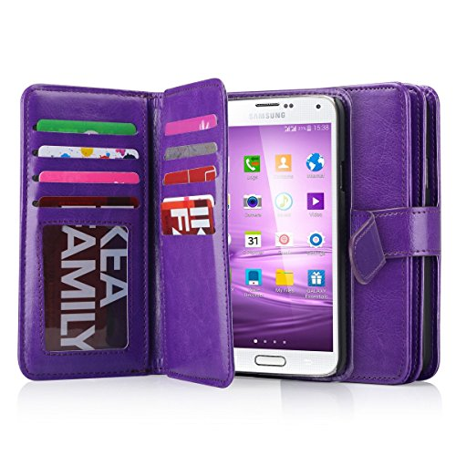 Galaxy S5 Case, S5 Wallet Jwest PU Leather Multi Card Slots Series Magnetic Wallet Case Cover for Samsung Galaxy S5 SV Galaxy S V i9600- Purple