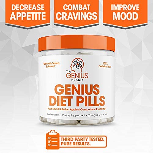 Genius Diet Pills – The Smart Appetite Suppressant That Works Fast for Safe Weight Loss, Natural 5-Htp & Saffron Supplement Proven for Women & Men – Cortisol Manger + Thyroid Support, 50 Veggie Caps 9