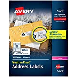 Avery WeatherProof Address Labels with TrueBlock Technology for Laser Printers 1' x 2-5/8', Box of 1,500 (5520), White