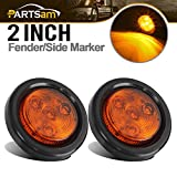 Partsam 2pcs Amber Led Light Trailer 2' Round,w/Plug & Grommet Marker 4 LED