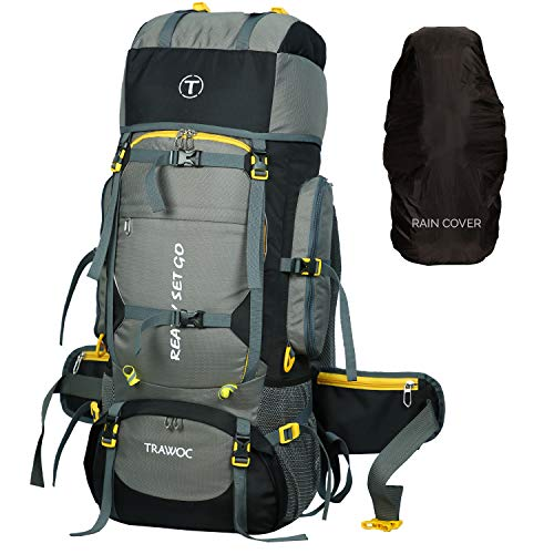 51kwI3eqJML - TRAWOC 80L Travel Backpack for Outdoor Sport Camp Hiking Trekking Bag Camping Rucksack HK006 (Grey) 1 Year Warranty