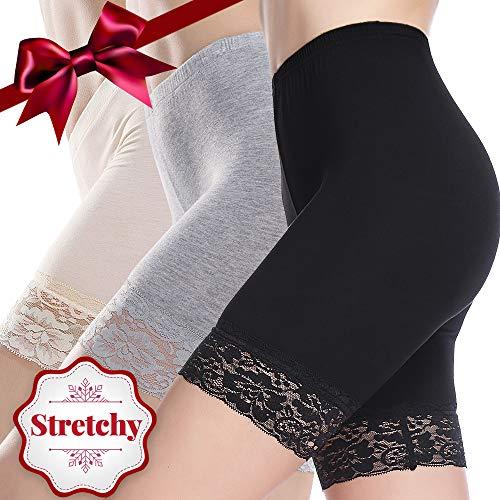 JTANIB Slip Shorts for Women 3 Pack Mid-Thigh Leggings Lace Plus Size Undershorts