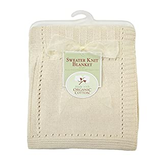 "Our sweater knit blanket material is made with 100% organic cotton. Measures 30"""" X 40"""". It is a perfect for today's on the go mom and can be used on a stroller. Machine wash cold with like colors, use mild detergent, gentle cycle. Do not bleach. Tu..."
