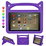 F i r e Tablet 7 Case Kids-Dinines Anti Slip Shockproof Light Weight Kids Friendly Protective Case for A m a z o n F i r e 7 2017-Compatible with F i r e 7 (5th Gen, 2015) (Purple)