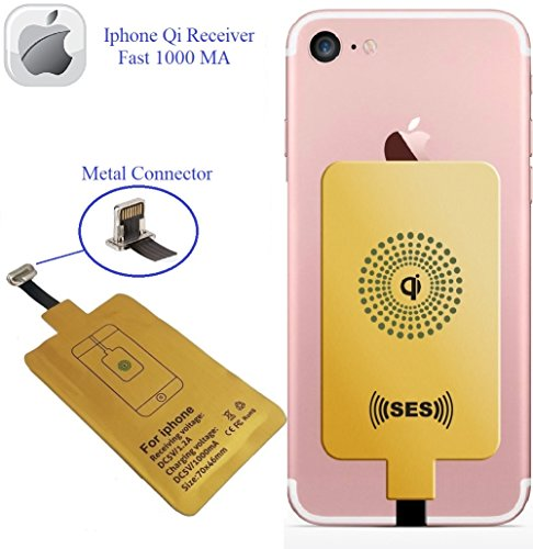 Wireless Charger, Wireless Receiver QI Receiver Charging Adapter Fast 1000 Ma iPhone 5-5c- SE- 6-6 Plus- 7-7 Plus- Qi Charger- Charging Receiver- QI Wireless Charging Adapter- QI Wireless Receiver